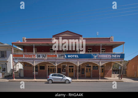 The Royal Hotel, part of the heritage listed Gaskill Steet in the town of Canowindra in the Central West region of New South Wales, Australia, - Stock Image