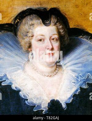Marie de Medici (1575-1642), portrait (detail), Queen of France, by Peter Paul Rubens, 1622 - Stock Image
