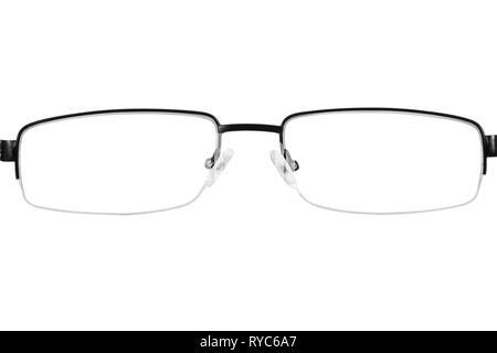 Black glasses frame background cutout - Stock Image