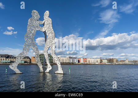 Molecule Man , River Spree, Clouds, Berlin , Germany - Stock Image