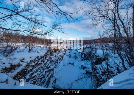 Winter landscape, Abisko National Park, Swedish Lapland, Kiruna, Sweden - Stock Image