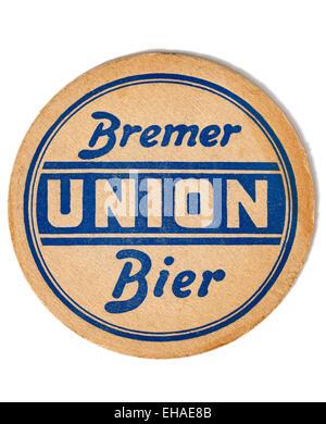 Vintage Beermat Advertising Bremer Union Beer - Stock Image