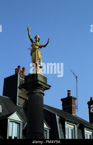 Statue of Marianne in Place de la République, Villedieu-les-Poêles, France - Stock Image