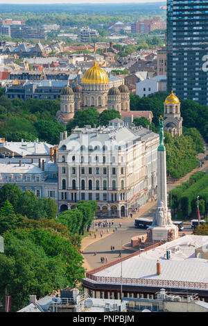 Riga Latvia, aerial view of the city center of Riga showing the Freedom Monument, the Greek Orthodox cathedral, and the tree-lined Esplanade, Latvia. - Stock Image
