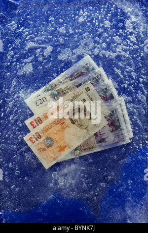 Sterling Notes Frozen - Stock Image