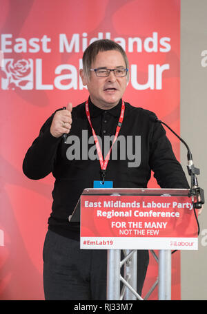 Lee Barron regional secretary for the Midlands TUC speaking at the East Midlands Labour Party 2019 conference in Nottingham, UK - Stock Image