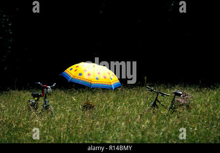 Yellow Umbrella and 2 Bicycles in long grass, Munich Germany - Stock Image