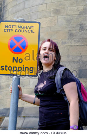 Nottingham, UK. 06th Aug, 2016. Counter-demontsration against English Defence League March A small march by the - Stock Image