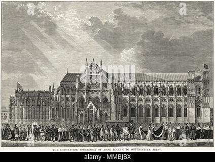 The Coronation Procession of Anne Boleyn to Westminster Abbey 1st June 1533 London England UK. 19th century Victorian engraving circa 1878 - Stock Image