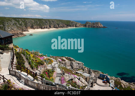 A sunny day over looking the open air Minack Theatre, on the coast of Cornwall built   by Rowena Cade. - Stock Image