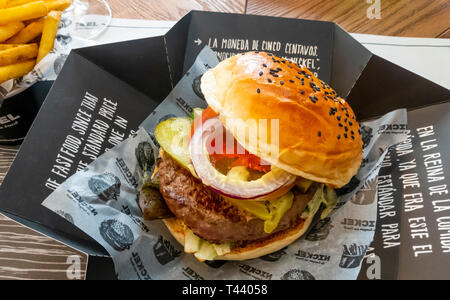 Classic Nickel Burger with fries in Seville, Spain - Stock Image