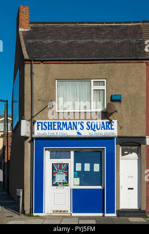 Conveniently located Fish and Chip shop in Fisherman's Square Redcar - Stock Image