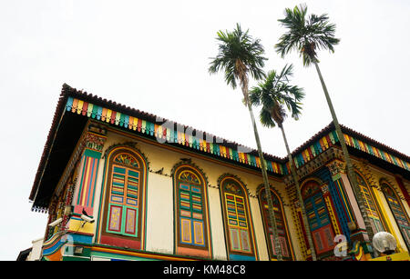 House of Tan Teng Niah, the most colorful building in Singapore is located at the centre of Little India, Singapore. - Stock Image