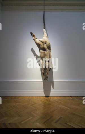 Berlinde De Bruyckere, We are all Flesh, 2012 sculptural installation; hung horse carcass, horse skin, epoxy resin, wax, steel; GNAM, Rome - Stock Image