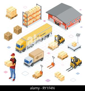 Warehouse Storage and Delivery Isometric Icons Set - Stock Image