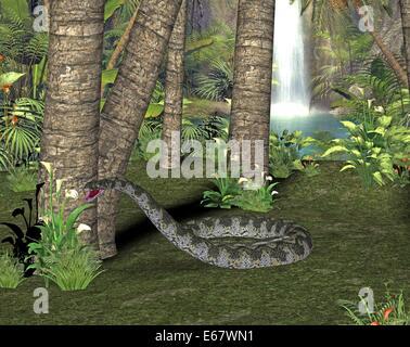 Dinosaurier Titanoboa cerrejonensis / dinosaur Titanoboa cerrejonensis - Stock Image