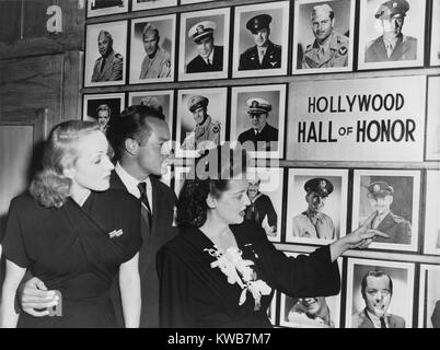 Wall of Honor in the Hollywood Canteen for servicemen during World War 2. Marlene Dietrich, Bob Hope, and  Bette - Stock Image
