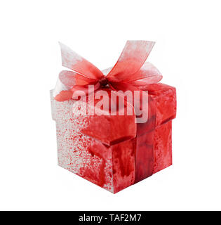 Bloody present box isolated on white background with clipping path - Stock Image