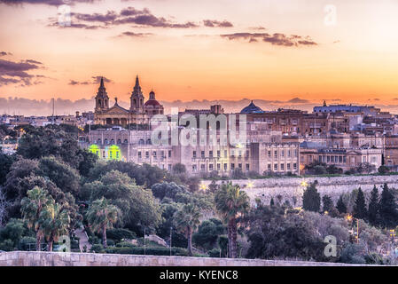 Valletta, Malta: aerial view from city walls - Stock Image