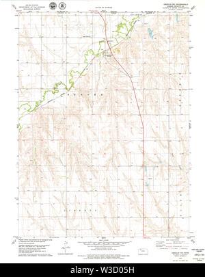 USGS TOPO Map Kansas KS Oberlin NE 512145 1978 24000 Restoration - Stock Image