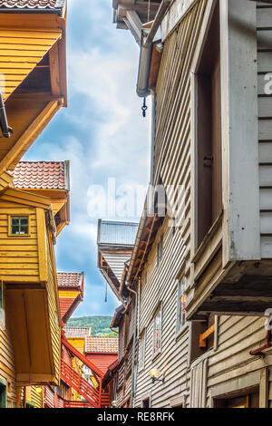 Old Wood Framed Buildings Bergen Norway - Stock Image