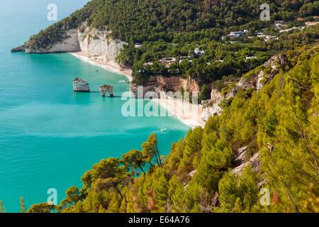 View of the bay, Vieste town, Gargano, Foggia district, Apulia, Puglia, Italy - Stock Image