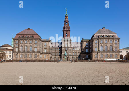 The Christiansborg Castle seen from the Riding Grounds, The parliament building of the Folketing. Copenhagen, Denmark. - Stock Image