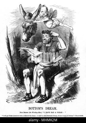 BOTTOM'S DREAM Nick Bottom (the working-man): 'I have a dream..' [I will get Peter Quince to write a ballad of this dream 'Bottom's Dream' because it hath no Bottom!]     Date: March 1872 - Stock Image