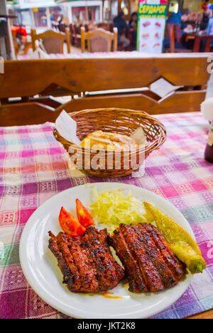 Grilled Macedonian beef sausage, Carsija, old bazaar area, Skopje, Macedonia - Stock Image