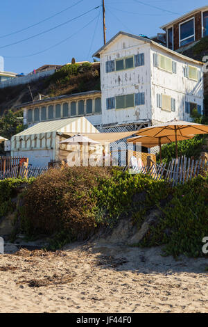 Historical building exterior at Crystal Cove Beach historical district  State Park California USA - Stock Image