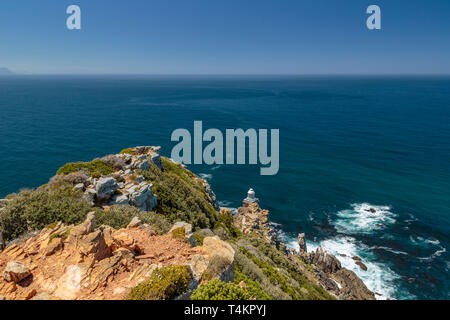 View at Cape point with Cape of good hope,  bushes and ocean, Cape point, South Africa - Stock Image