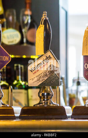 Wainwright Golden Ale beer pump, Beverley, East Riding, Yorkshire, England - Stock Image