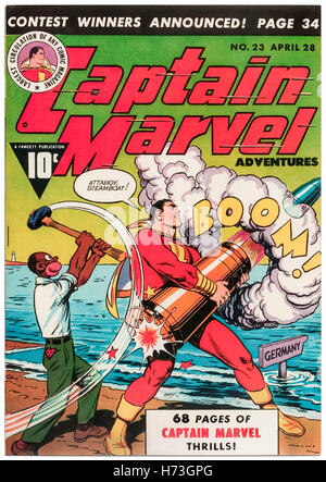Captain Marvel Adventures Issue 23 April 1943, featuring cover art by C. C. Beck (1910-1989) published by Fawcett - Stock Image