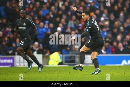 Eden Hazard of Chelsea scores his second goal during the Premier League match between Brighton and Hove Albion and - Stock Image