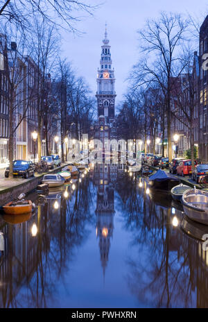 Amsterdam morning, canal and church Zuiderkerk. - Stock Image