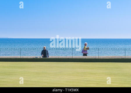 Newlyn, Cornwall, UK. 27th Mar, 2019. UK Weather. Bright sunny afternoon at Wherrytown, near Newlyn in Cornwall. Ideal time to freshen the paint on the railings at the bowling green on the seafront. Credit: Simon Maycock/Alamy Live News - Stock Image