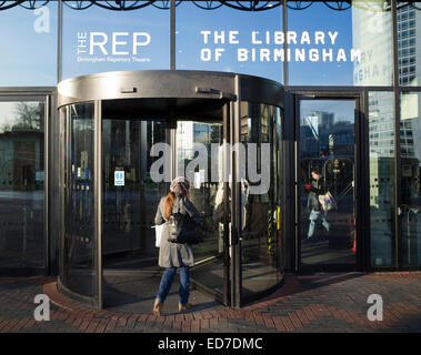 Entrance to The Library of Birmingham in England UK - Stock Image
