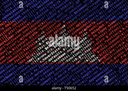 Cambodia flag  is depicted on the screen with the program code. The concept of modern technology and site development. - Stock Image