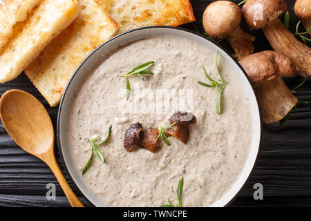 Fragrant soup with fresh porcini mushrooms and thyme close-up in a bowl served with toast on the table. Horizontal top view from above - Stock Image