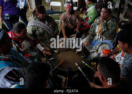 Southhampton, United States of America. 03rd Sep 2018. Group of Native American prepares to dance during the celebration of the 72nd annual Shinnecock Indian Powwow over the Labour Day weekend in Southampton Long Island New York in Southhampton, United States of America, 03 September 2018. (PHOTO) Alejandro Sala/Alamy News - Stock Image