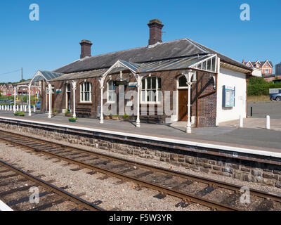 Llandrindod Wells railway station building and platform, Powys Wales UK - Stock Image