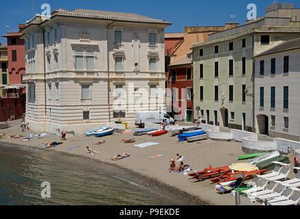 Baia del Silenzio beach, Sestri Levante, Riviera di Levante, Liguria, Italy, - Stock Image