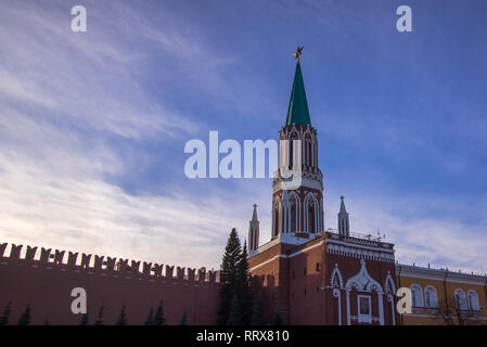 Moscow Kremlin on blue sky background in sunny day - Stock Image