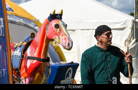 Ardingly Sussex UK 6th June 2019 - An interesting horse on the first day of the South of England Show held at the Ardingly Showground in Sussex. The annual agricultural show highlights the best in British farming and produce and attracts thousands of visitors over three days . Credit : Simon Dack / Alamy Live News - Stock Image