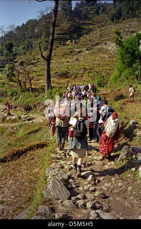 Trekkers and local people descending track though fields from Syauli Bazar to Naya Pul Annapurna circuit Nepal Himalayas - Stock Image