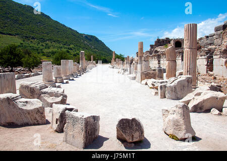 Street lined with columns in Ephesus, an ancient Greek city in Turkey - Stock Image