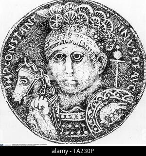 A coin with the image of the first Christian Roman emperor. On the headdress the sign of the cross can be recognized here for the first time. - Stock Image