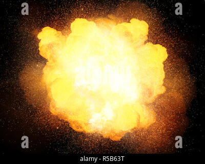 Fiery hot and bright explosion, orange color with sparks isolated on black background - Stock Image