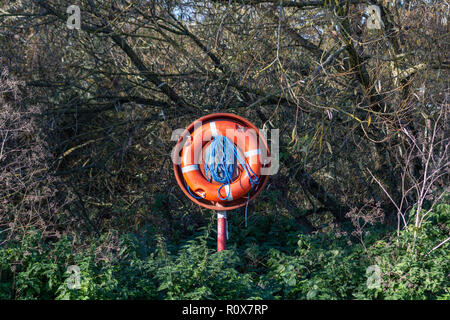 Bright orange lifebuoy/lifebelt with blue rope against a background of trees between it and the river Avon in Chippenham - Stock Image