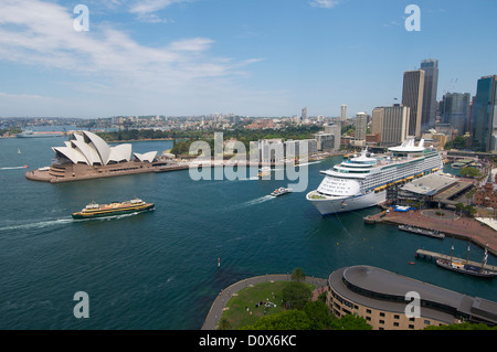 Cruise liner 'Voyager of the Seas' berthed in Circular Quay Sydney Australia - Stock Image